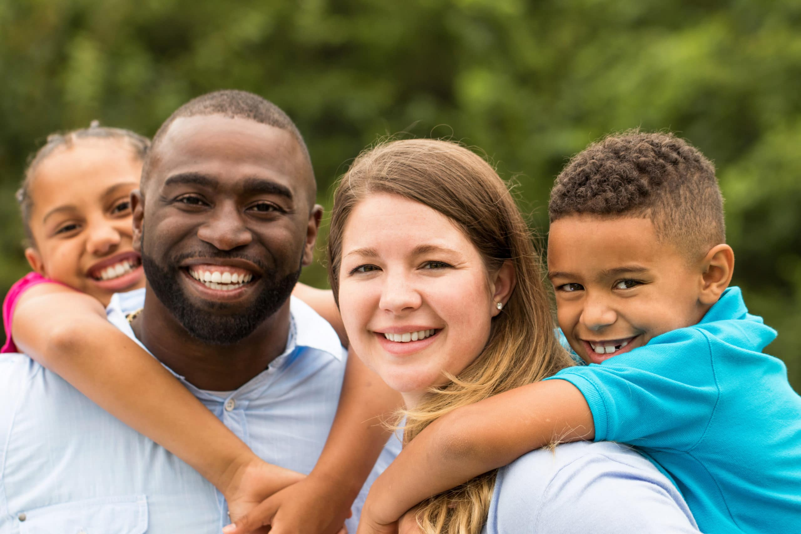 Beautiful diverse family with children