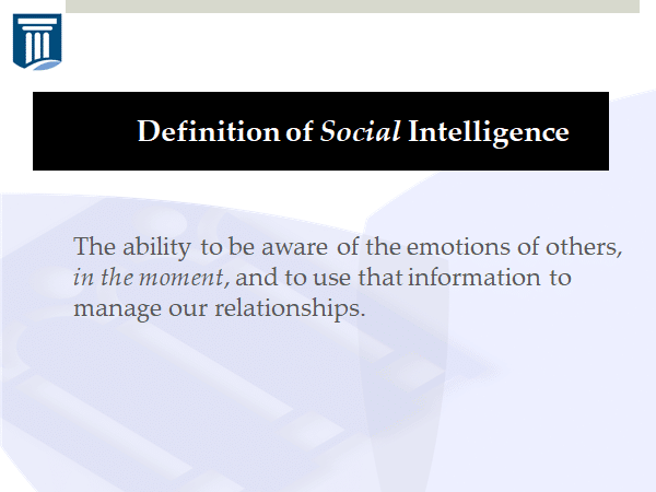 The definition of social intelligence